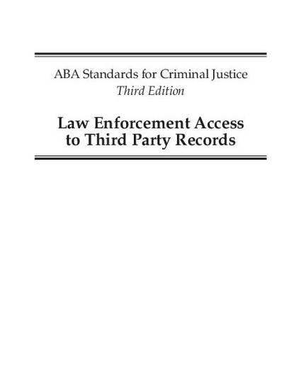 American Bar Association Criminal Justice Standards on Law