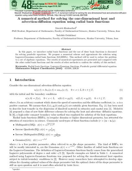 A numerical method for solving the one-dimensional heat and