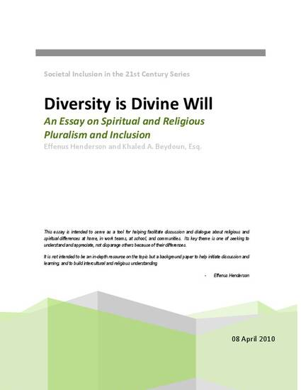 diversity is divine will an essay on spiritual and religious   diversity is divine will an essay on spiritual and religious pluralism and inclusion by effenus henderson