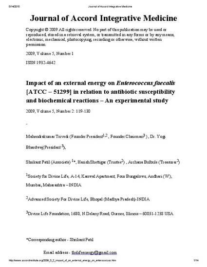 Impact Of An External Energy On Enterococcus Faecalis Atcc 51299