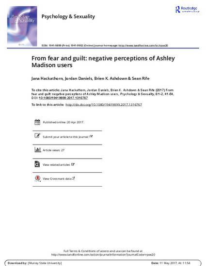 From fear and guilt negative perceptions of Ashley Madison
