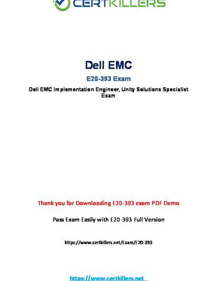 Dell EMC Unity Solutions Specialist Practice Test E20-393 Exam QA PDF+Simulator