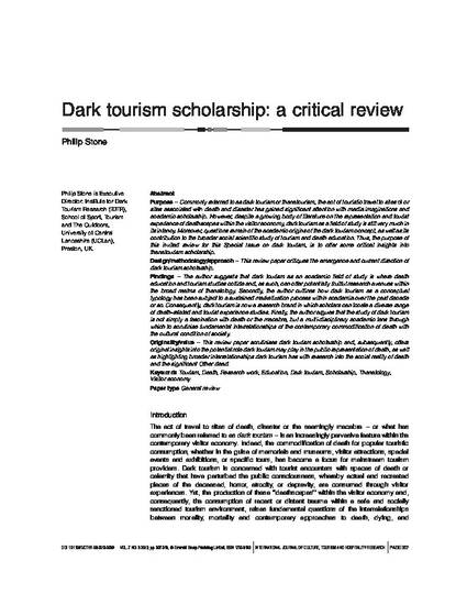 dark tourism scholarship a critical review by philip stone dr