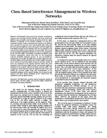 Class Based Interference Management In Wireless Networks By Mohammad Arif Hossain