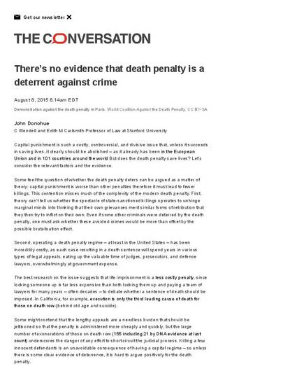 capital punishment is not a deterrent to crime