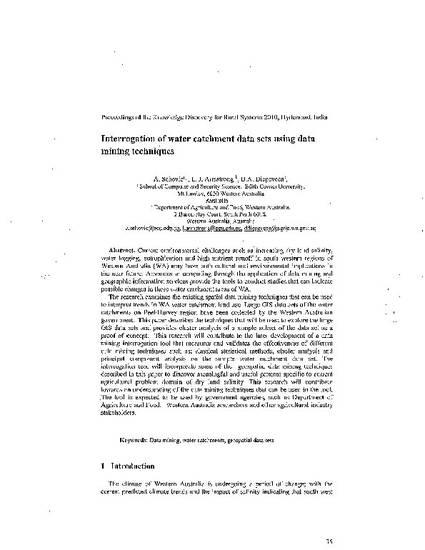 Interrogation of Water Catchment Data Sets Using Data Mining