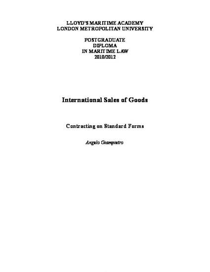 Contracting On Standard Forms For International Sales Of Goods By