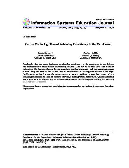 Course Mentoring: Toward Achieving Consistency in the