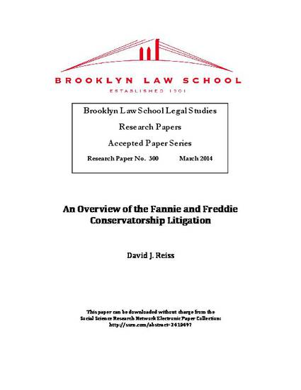An Overview of the Fannie and Freddie Conservatorship
