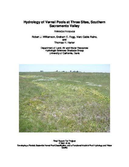 Hydrology of Vernal Pools at Three Sites, Southern