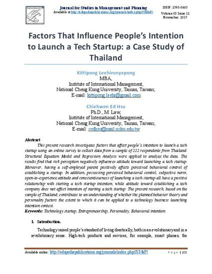 Factors That Influence People's Intention to Launch a Tech