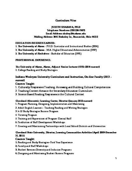 dr judith shabaya curriculum vitaedocx by judith shabaya