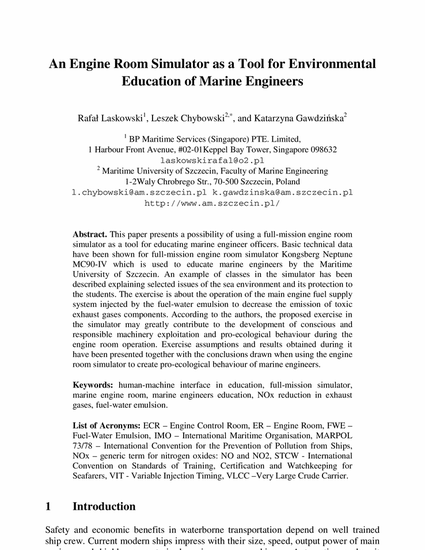 An Engine Room Simulator as a Tool for Environmental Education of