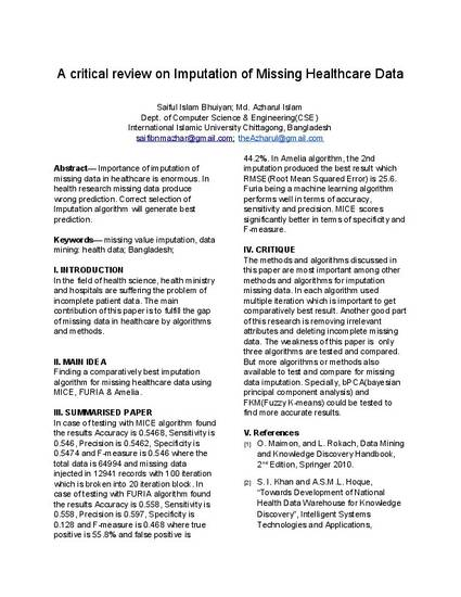 A critical overcview on Imputation of Missing Healthcare