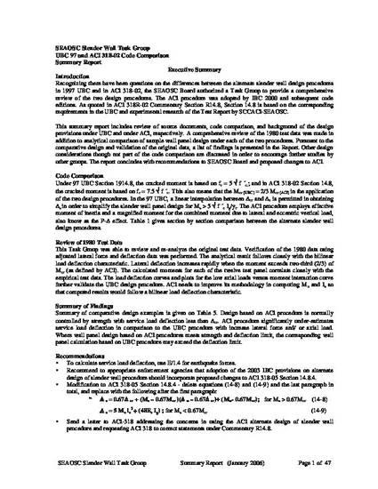 UBC 97 and ACI 318-02 Code Comparison - Summary Report