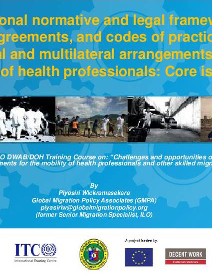 International normative and legal framework model agreements and international normative and legal framework model agreements and codes of practice on bilateral and multilateral arrangements for mobility of health platinumwayz