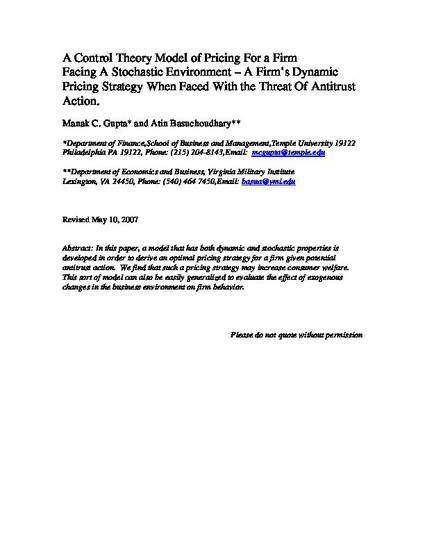 A Control Theory Model of Pricing For a Firm Facing A