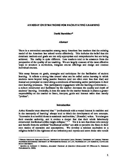 an essay on strategies for facilitating learning by david barnhizer an essay on strategies for facilitating learning by david barnhizer