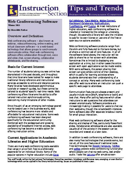 Web Conferencing Software By Meredith G Farkas