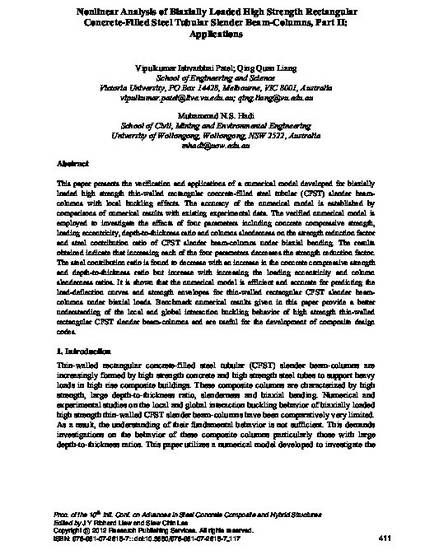 Nonlinear analysis of biaxially loaded high strength rectangular