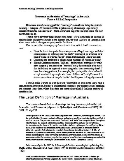 Australian Marriage Law from a Biblical perspective