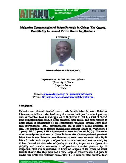 melamine contamination of infant formula in china the causes food safety issues and public health implications by emmanuel ohene afoakwa