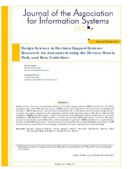 Design Science In Decision Support Systems Research An Assessment Using The Hevner March Park And Ram Guidelines By David Arnott
