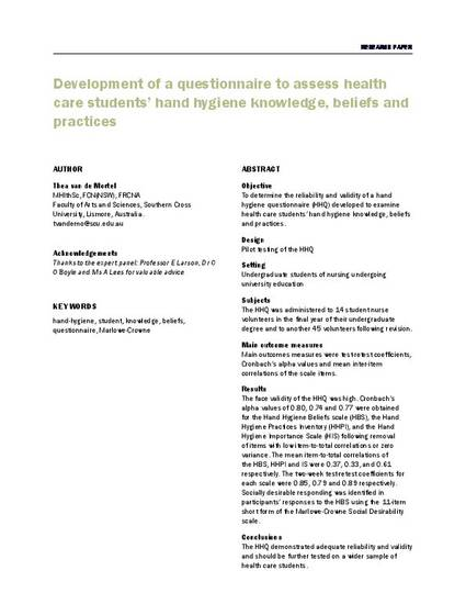 Development of a questionnaire to assess health care