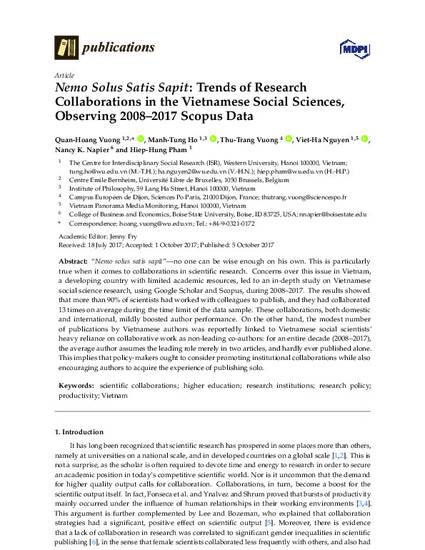 Nemo Solus Satis Sapit: Trends of Research Collaborations in