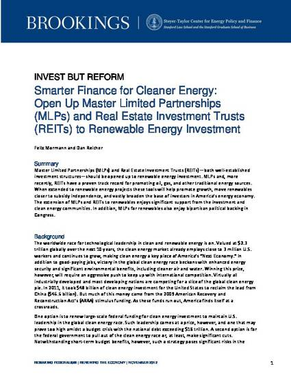 Smarter Finance for Cleaner Energy: Open Up Master Limited
