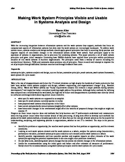 Making Work System Principles Visible And Usable In Systems Analysis And Design By Steven Alter