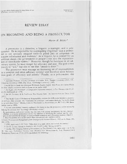 review essay on becoming and being a prosecutor by martin h belsky  review essay on becoming and being a prosecutor by martin h belsky