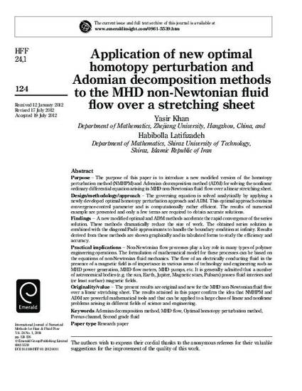 Application of new optimalhomotopy perturbation andAdomian