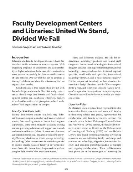 faculty development centers and libraries united we stand   faculty development centers and libraries united we stand divided we fall by shannon f johnson