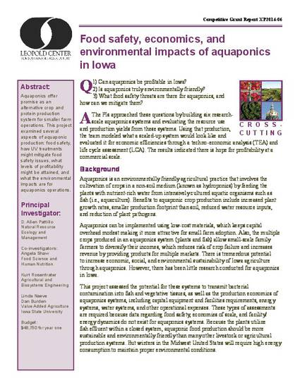 Food safety, economics and environmental impacts of