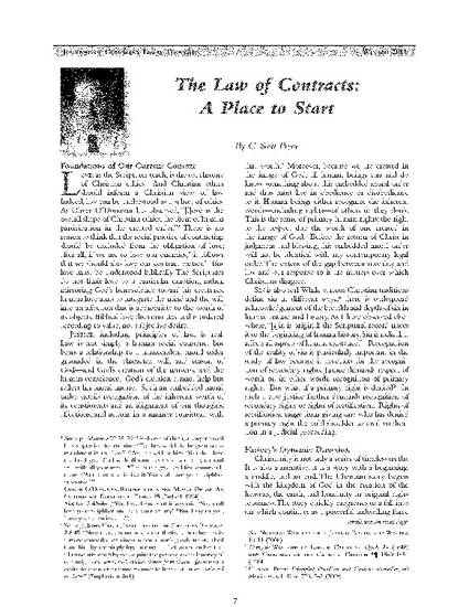 The Law of Contracts: A Place to Start