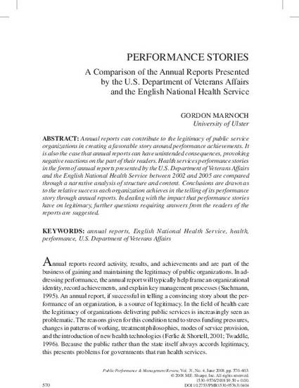 Performance Stories A Comparison of the Annual Reports